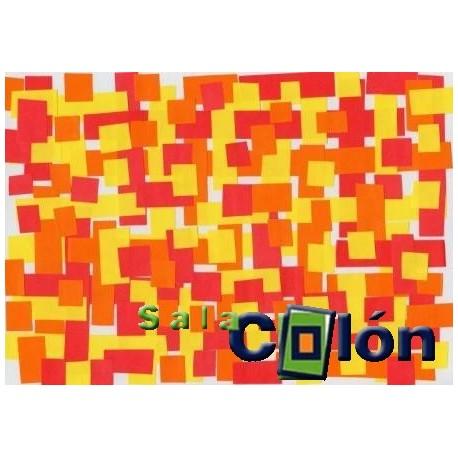 Lámina cuadros rojos, naranjas y amarillos