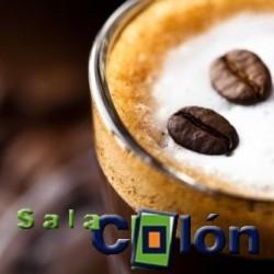 Lámina cafe con leche y granos café