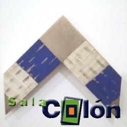 Moldura plana artesanal plata azul 10 cms.