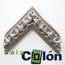 Moldura convexa labrada plata envejecida 10 cms.