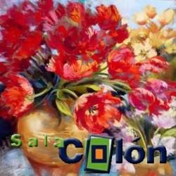 Lámina jarrón flores multicolor
