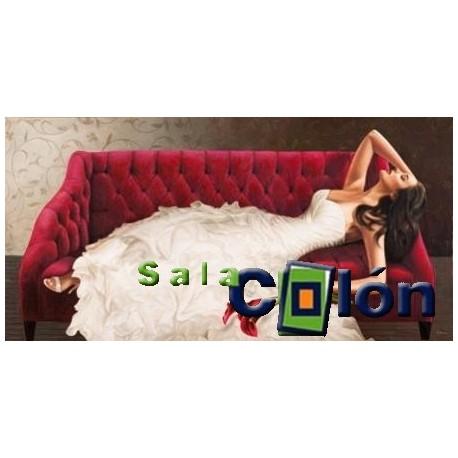 Lámina mujer sofá rojo