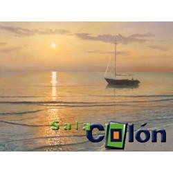 Lámina marina orilla barco